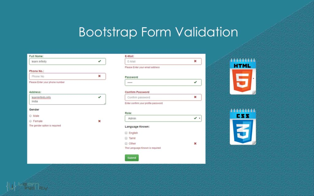 Bootstrap Html Form Validation On Submission Learn Infinity