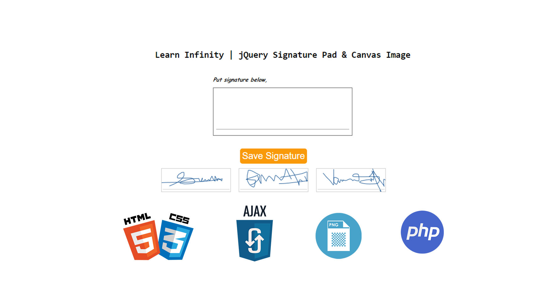 Digital E-Signature pad with saving it as image using html2canvas and Ajax, PHP