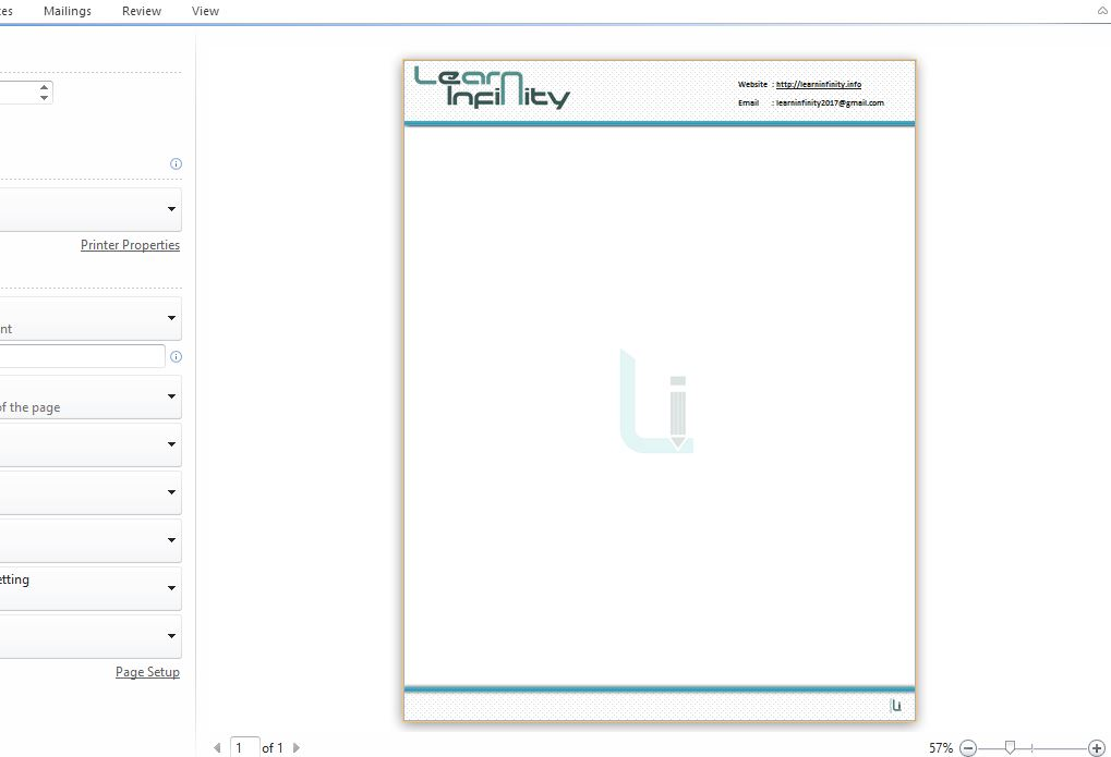 Making Professional Looking Letterhead in MS