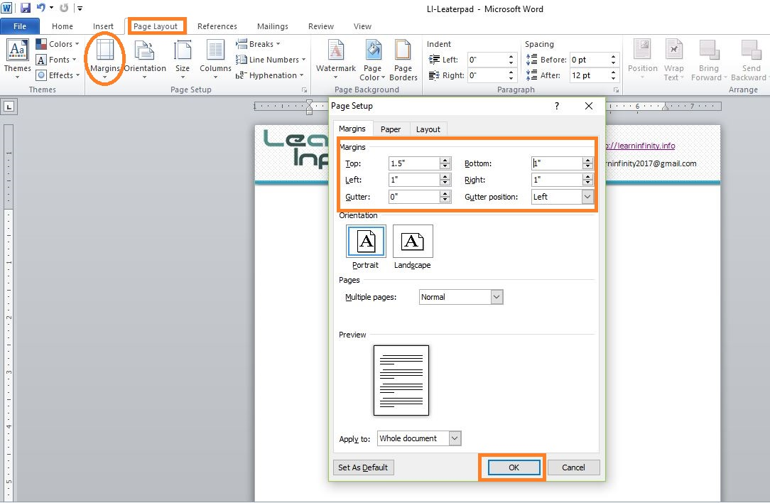 Making Professional Looking Letterhead in MS-Word 2010