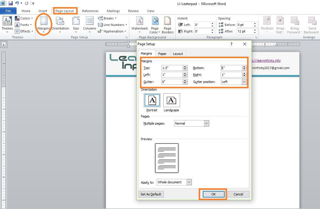 Making Professional Looking Letterhead in MS-Word 2010